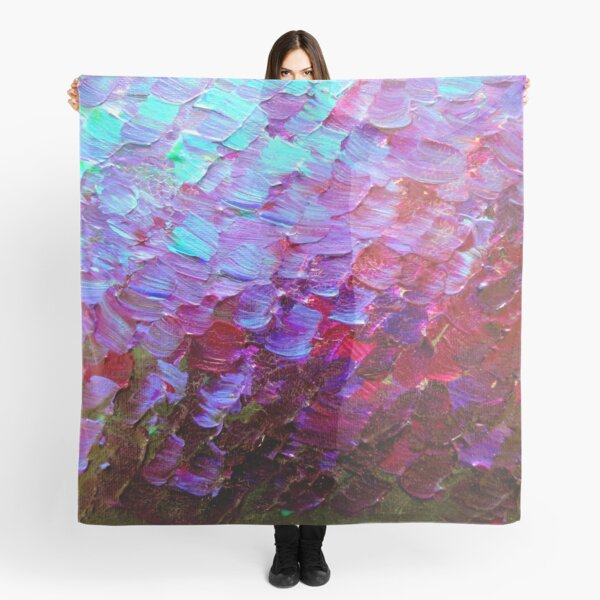 MERMAID SCALES Colorful Ombre Abstract Acrylic Impasto Painting Violet Purple Plum Ocean Waves Art Scarf