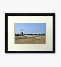 Cley Windmill with royal wedding bunting Framed Print