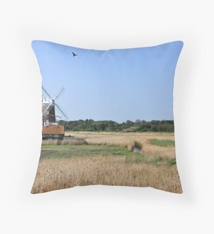 Cley Windmill with royal wedding bunting Throw Pillow