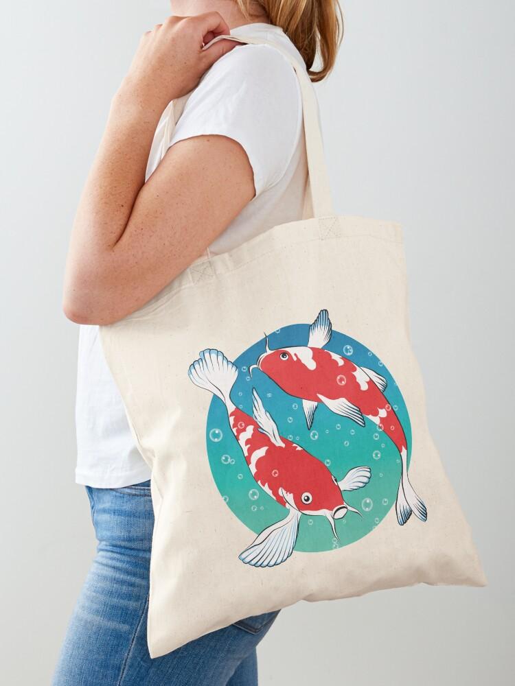 Cotton medium sized tote with Koi Fish