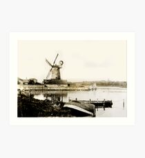 Cley Windmill marsh tide 1900 Art Print