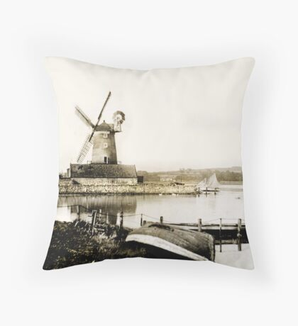 Cley Windmill marsh tide 1900 Throw Pillow