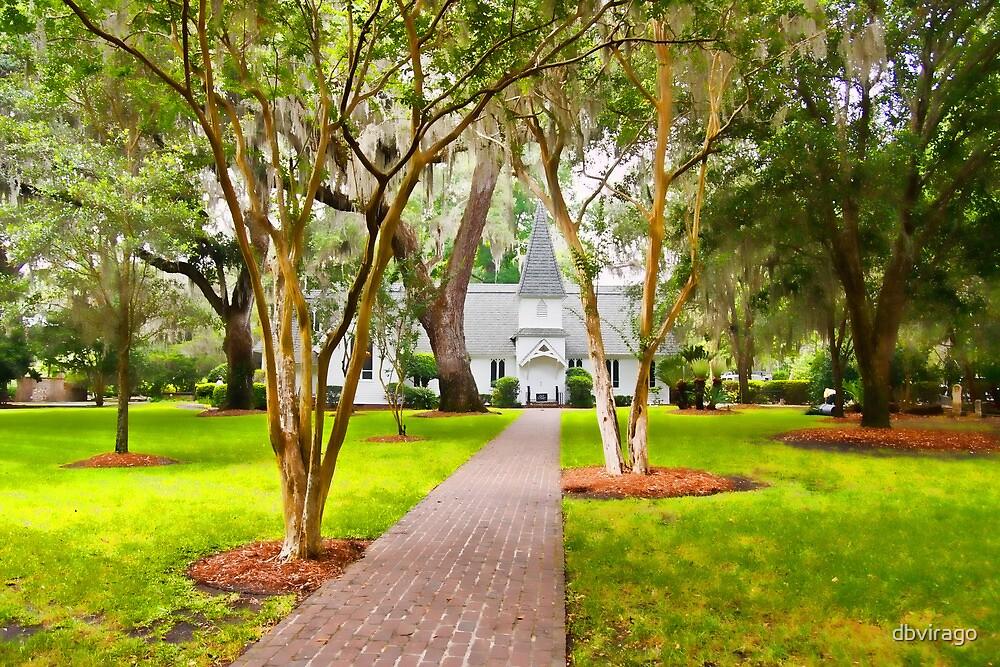 Small Church Down Brick Path Under Southern Trees by dbvirago
