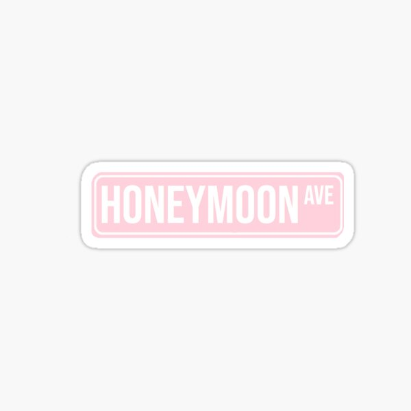 pink honeymoon street sign Sticker