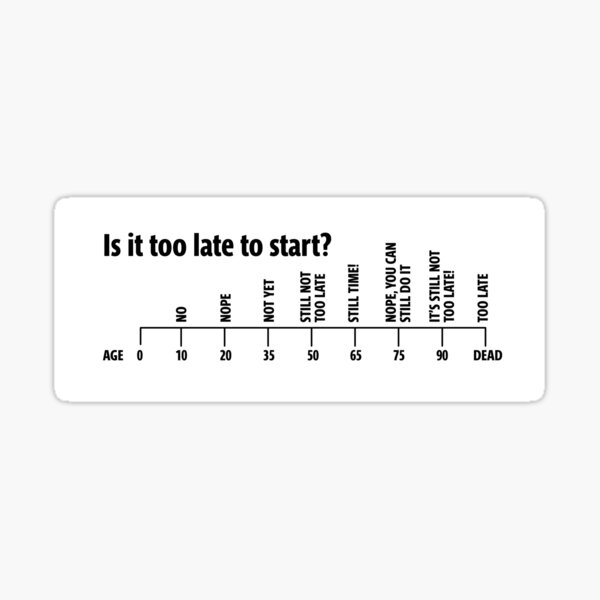It's Never Too Late to Start Sticker