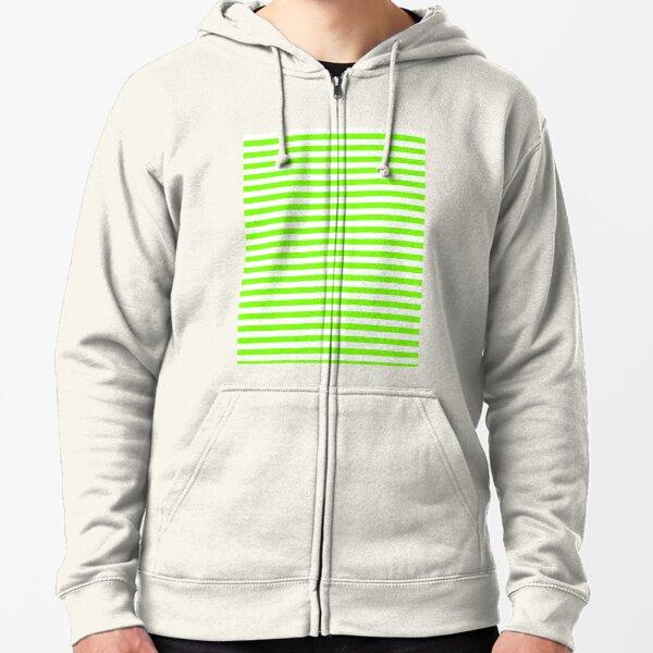 Rayures horizontales vertes et blanches Chartreuse Veste zippée à capuche