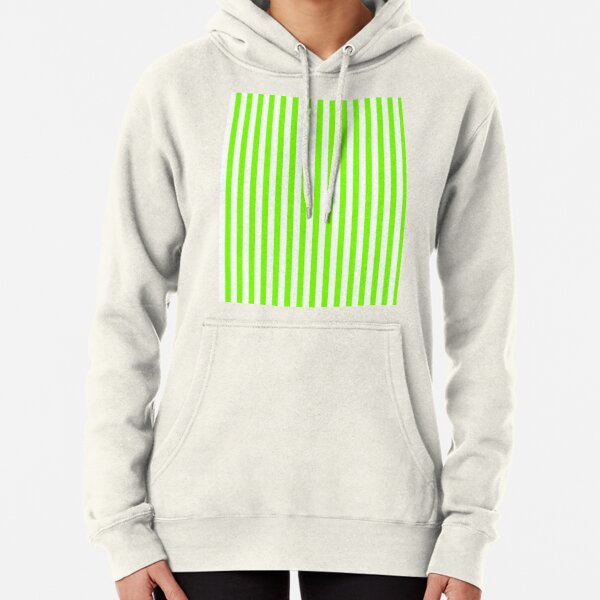 Rayures verticales vert chartreuse et blanc Sweat à capuche épais