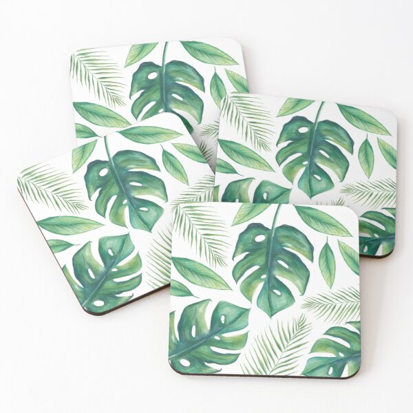 Tropical Leaves Coasters (Set of 4)