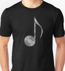 Vinyl Record Musical Eighth Note - Metallic - Steel T-Shirt