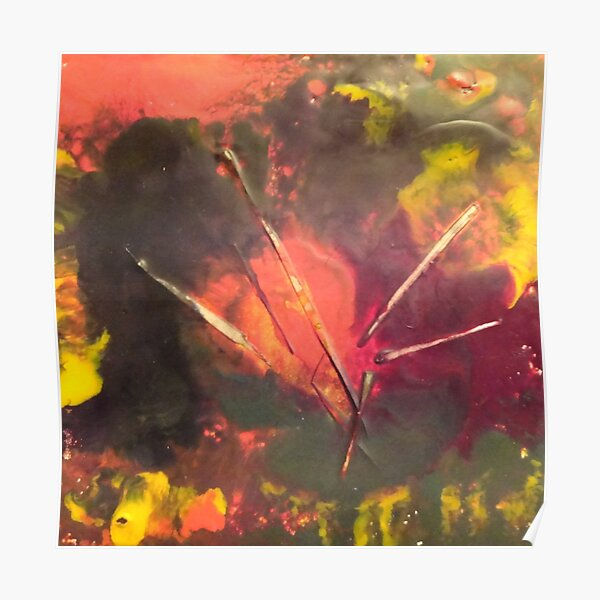 Encaustic Abstract with text Poster