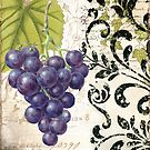 Les Fruits Vintage Purple Grapes and Damask by mindydidit
