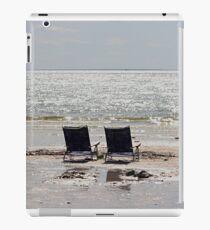 Two beach chairs on a sand bar iPad Case/Skin