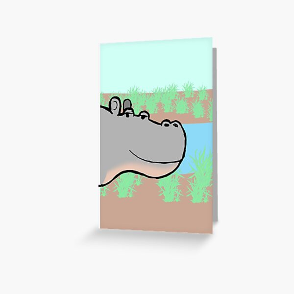 Mellow Hippo Greeting Card
