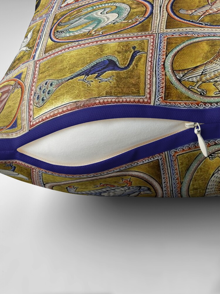 Alternate view of MEDIEVAL BESTIARY, FANTASTIC ANIMALS IN GOLD RED BLUE COLORS Throw Pillow