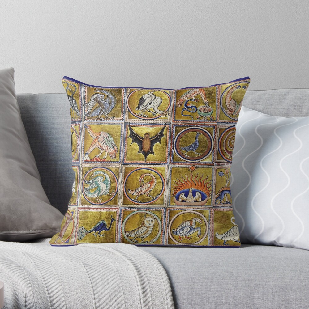 MEDIEVAL BESTIARY, FANTASTIC ANIMALS IN GOLD RED BLUE COLORS Throw Pillow