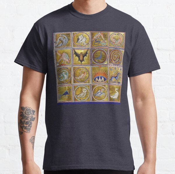 MEDIEVAL BESTIARY, FANTASTIC ANIMALS IN GOLD RED BLUE COLORS Classic T-Shirt