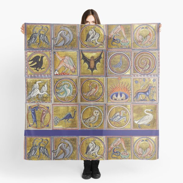 MEDIEVAL BESTIARY, FANTASTIC ANIMALS IN GOLD RED BLUE COLORS Scarf