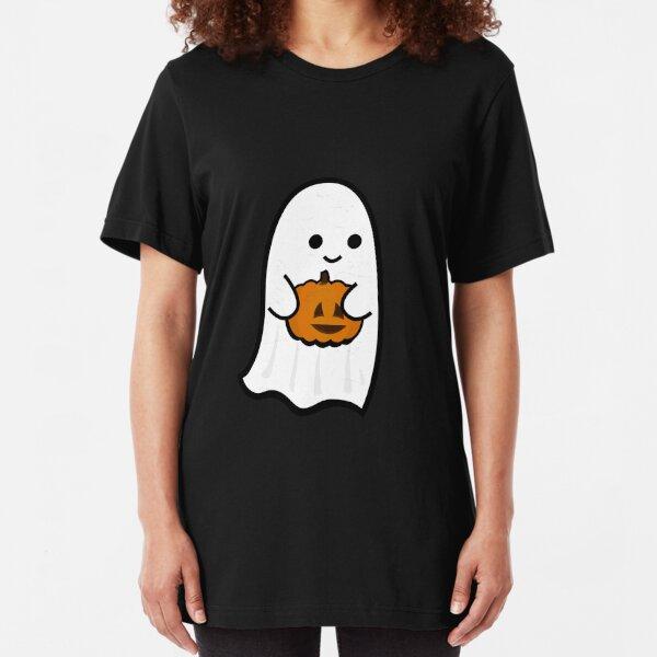 Cute Ghost's Jack o' Lantern Slim Fit T-Shirt
