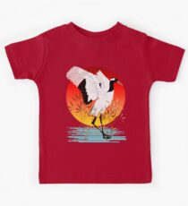 Red Crowned Crane and Setting Sun Kids Tee
