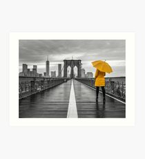 Tourist on Brooklyn bridge Art Print