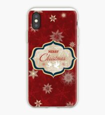 Snowflakes and Doves Christmas Card - Merry Christmas iPhone Case