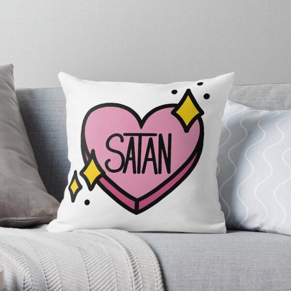 Pink Satan Heart With Stars Throw Pillow