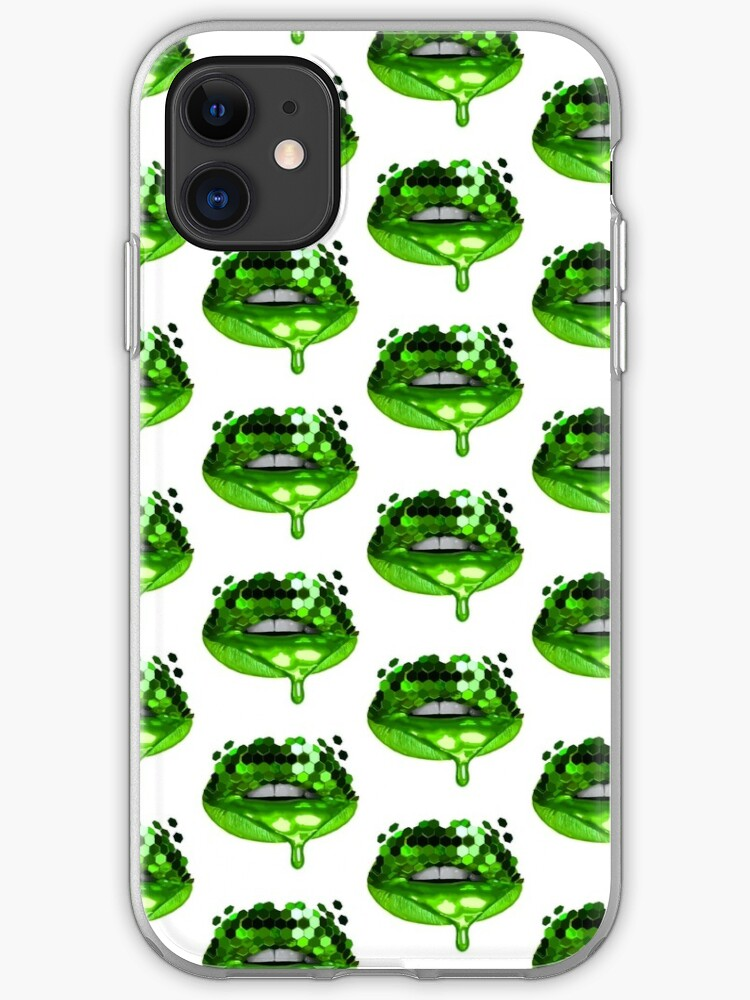 Toxic Green Pop Art Lip Drawing Iphone Case Cover By Katie Whyte Art Redbubble
