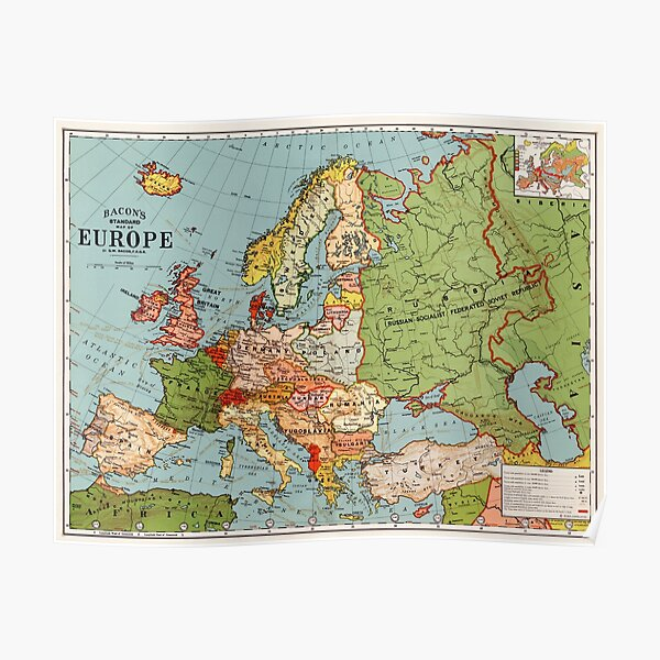 Vintage Europe Map (1920's Post-WW1 Era) Poster