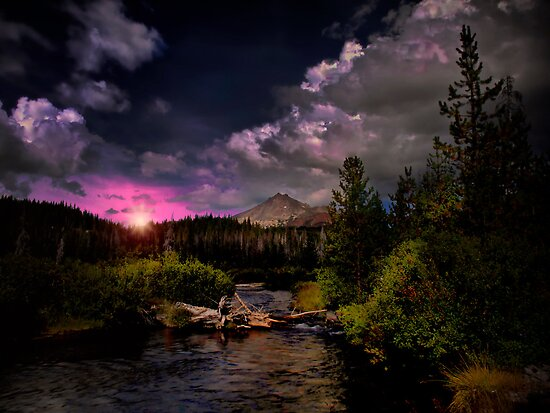 Sparks Lake and the Three Sisters by Charles & Patricia   Harkins ~ Picture Oregon