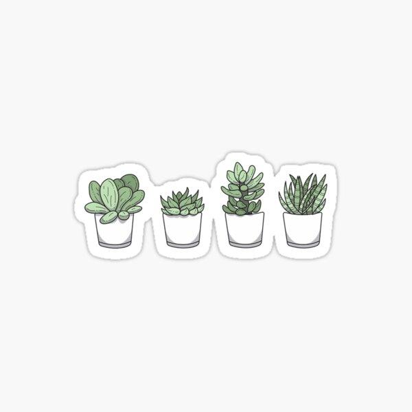Cute set of 4 plants Glossy Sticker