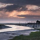 River Brue Sunset in Landscape by kernuak