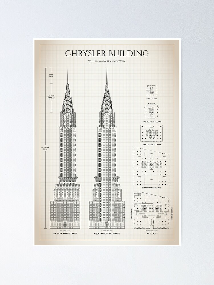 Alternate view of Chrysler building (Ivory brown grid) Poster
