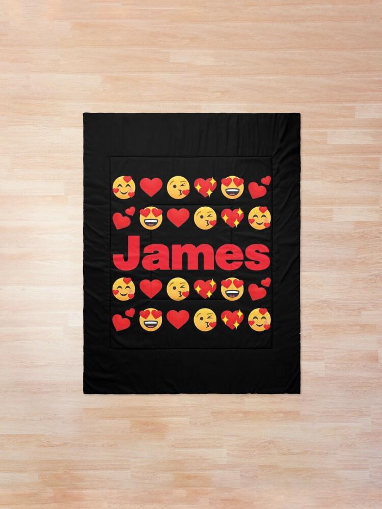 Alternate view of James Emoji My Love for Valentines day Comforter