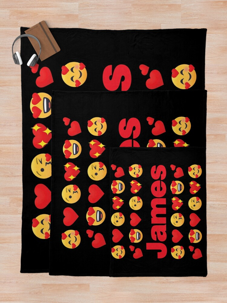 Alternate view of James Emoji My Love for Valentines day Throw Blanket