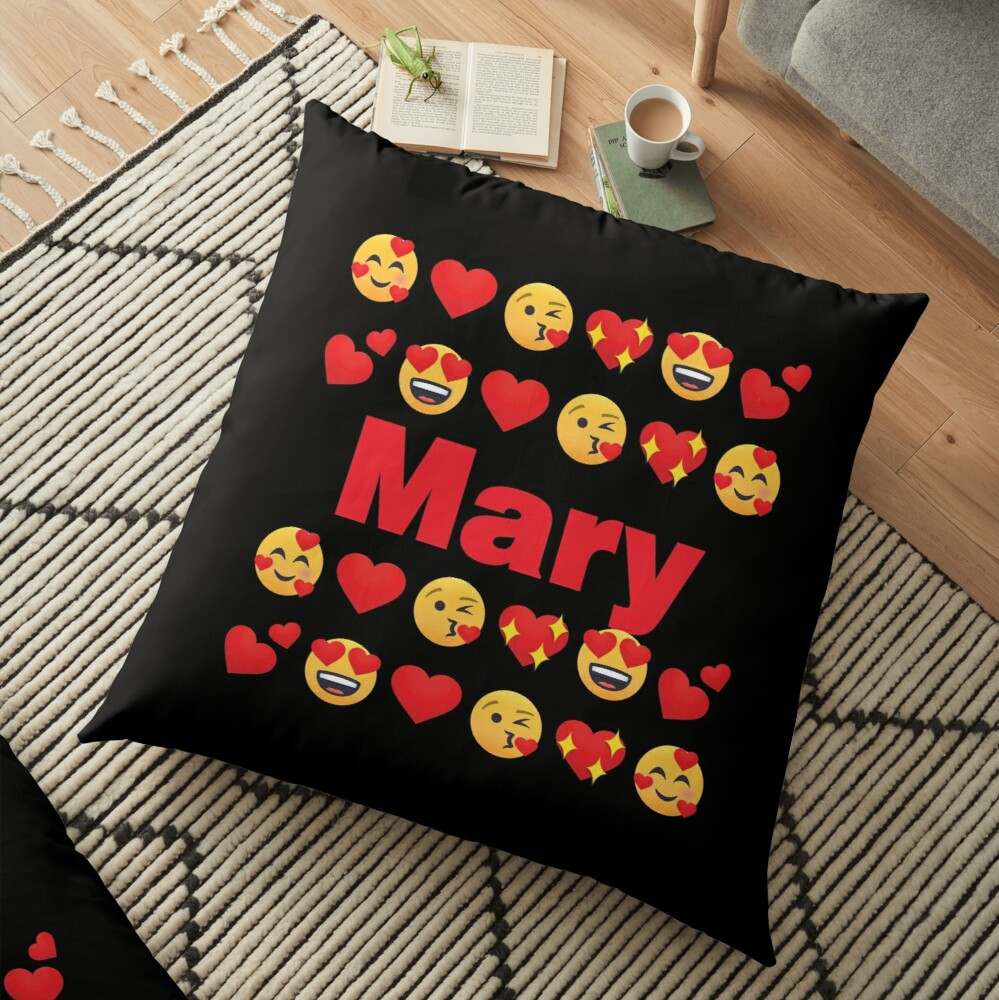 Mary Emoji My Love for Valentines day Floor Pillow