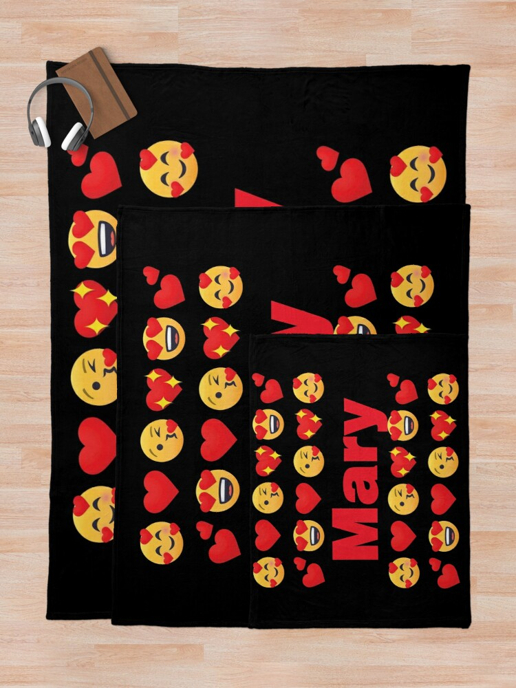 Alternate view of Mary Emoji My Love for Valentines day Throw Blanket