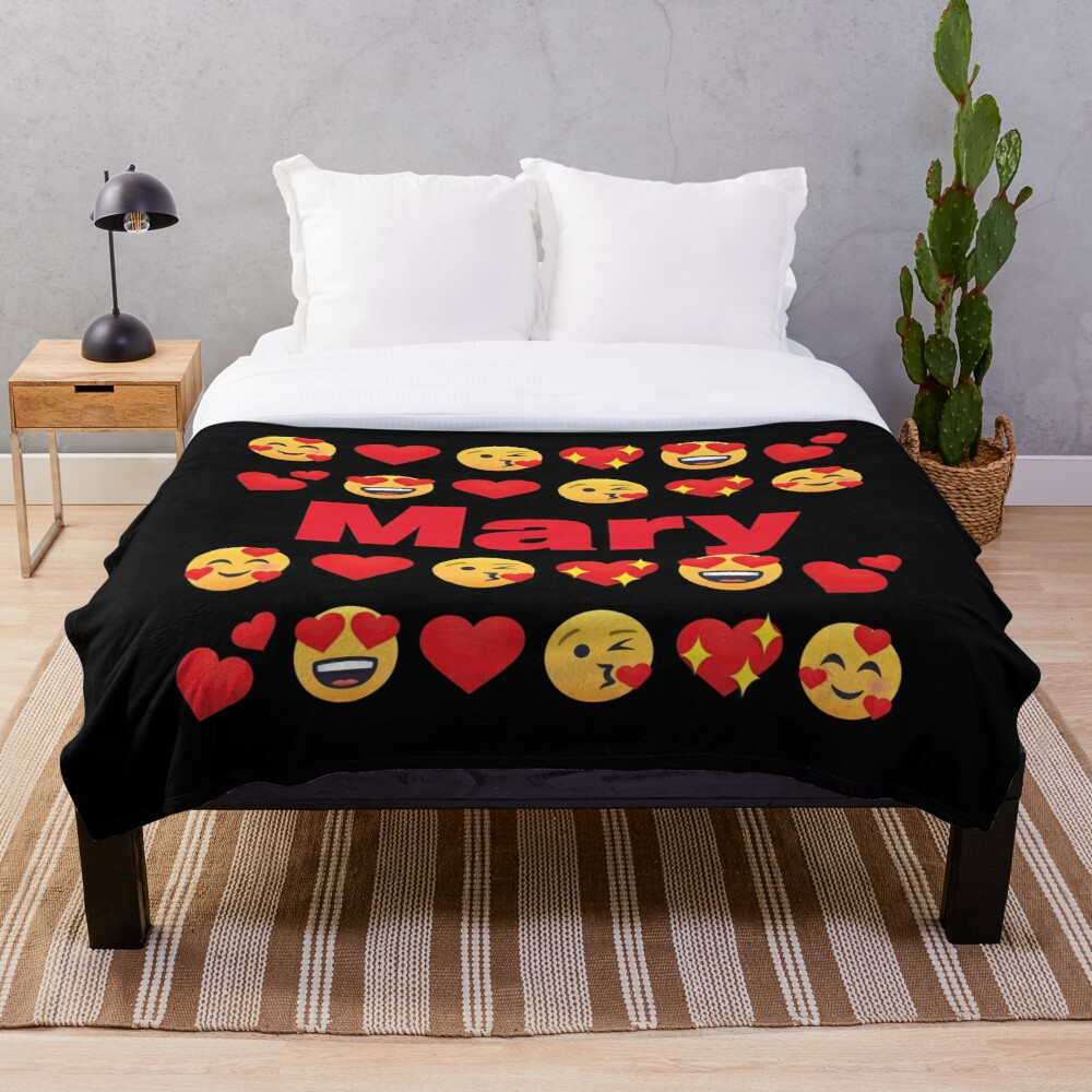 Mary Emoji My Love for Valentines day Throw Blanket