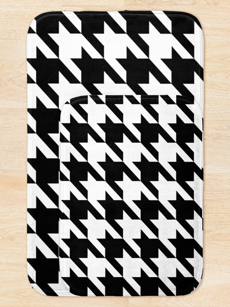 Alternate view of Hip geometric pattern trendy black and white Houndstooth  Bath Mat