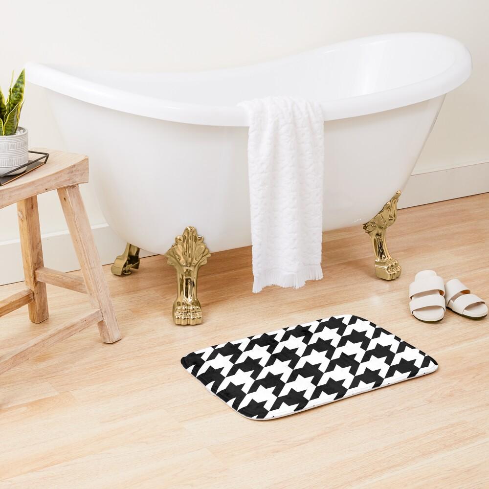 Hip geometric pattern trendy black and white Houndstooth  Bath Mat