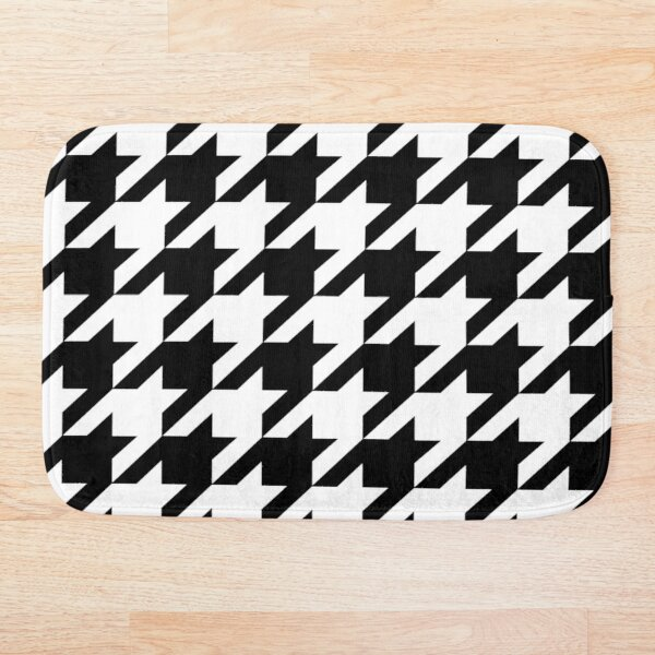 Hip geometric pattern trendy black and white Houndstooth  Bath Mat