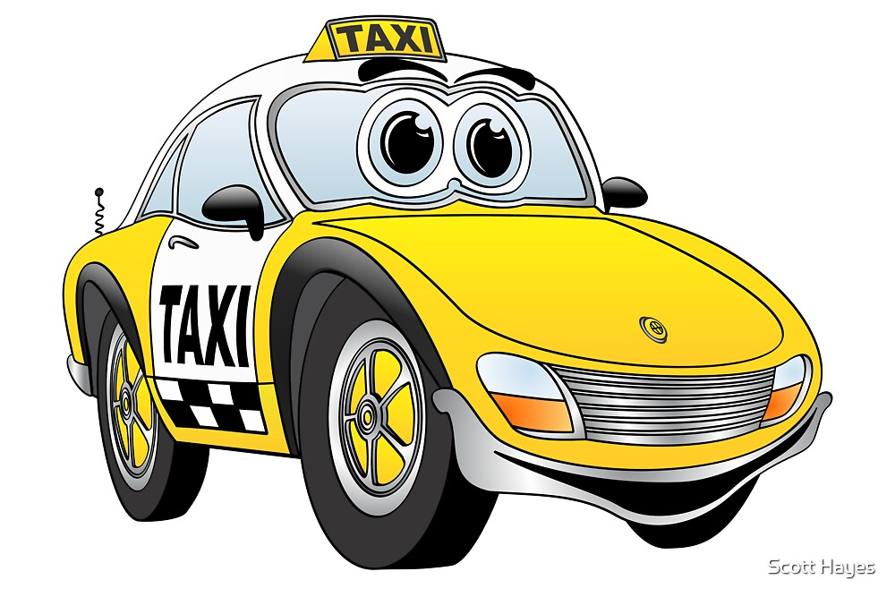 Taxi Cab Sports Car Cartoon by Graphxpro
