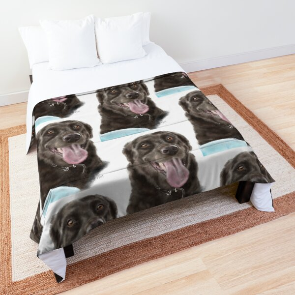 Smiling Happy Chocolate Labrador Retriever and Frisbee  Comforter