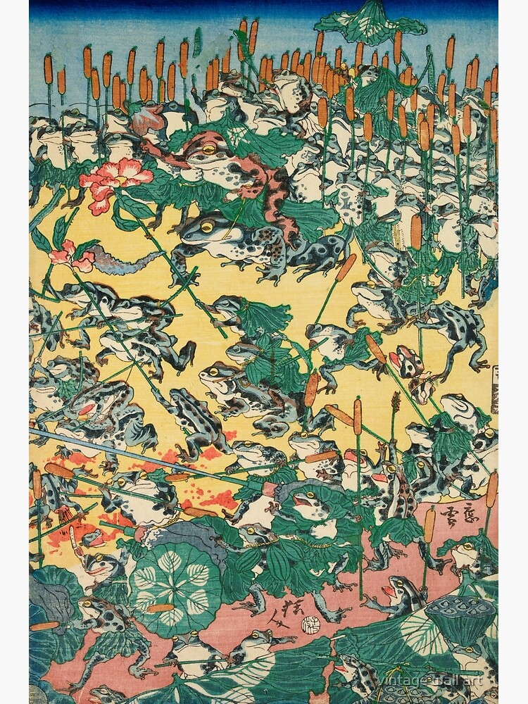 Fashionable Battle of Frogs by Kawanabe Kyosai, 1864 by fineearth