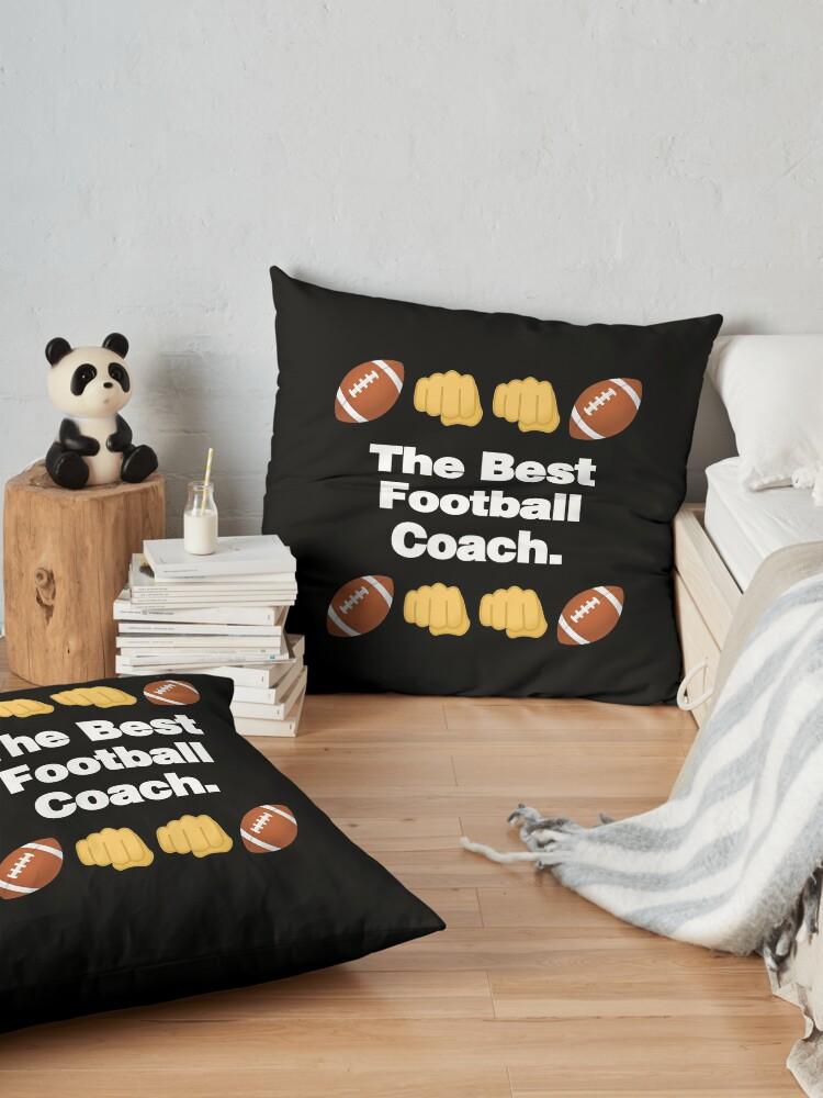 Alternate view of The Best Football Coach Emoji American Football Saying Floor Pillow