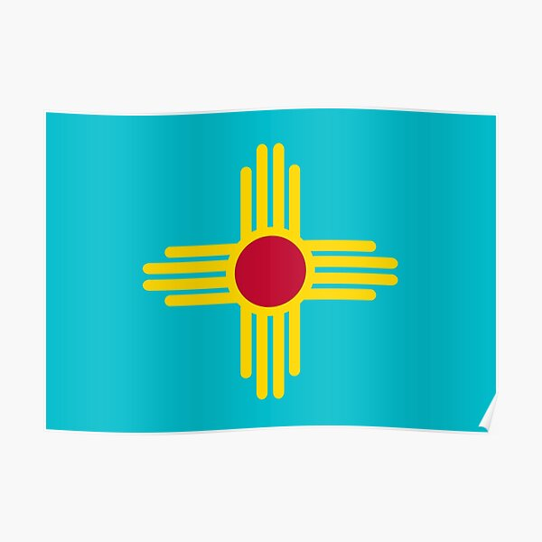 New Mexico Flag in Turquoise Poster