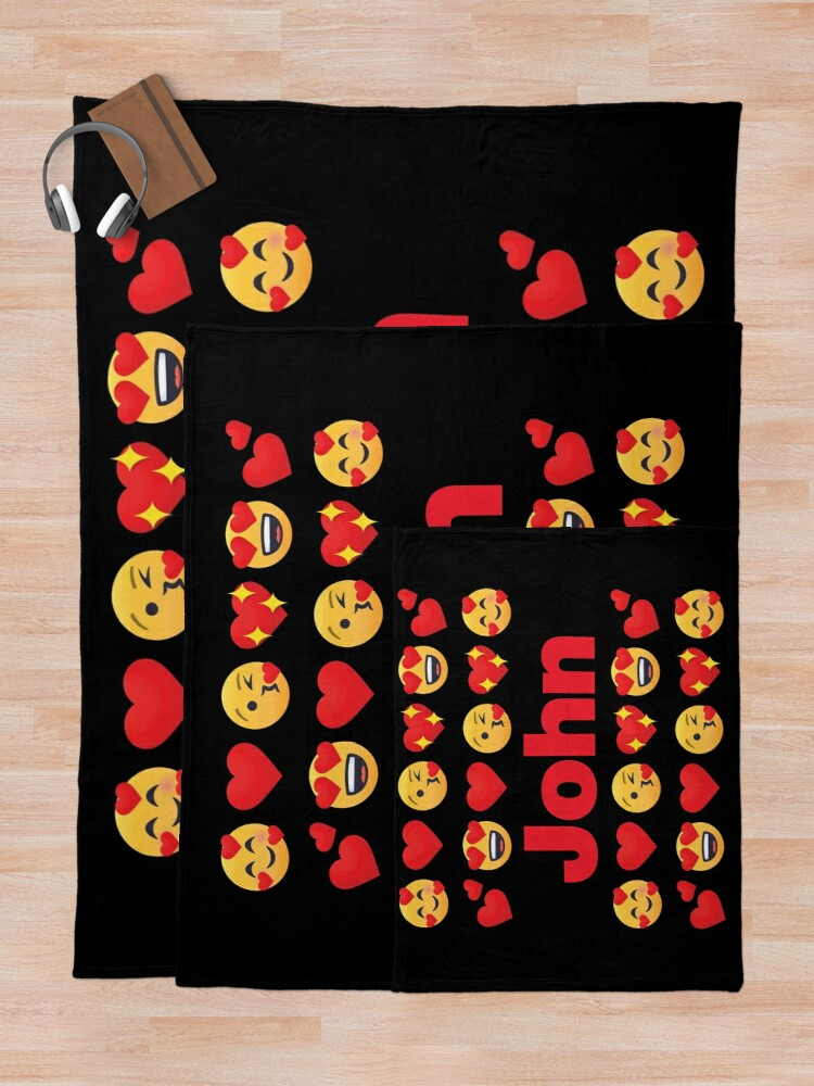 Alternate view of John Emoji My Love for Valentines day Throw Blanket