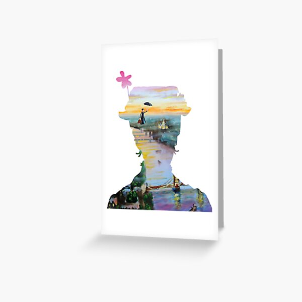 Mary Poppins flying above London Greeting Card