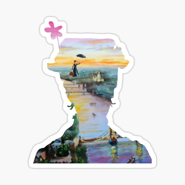 Mary Poppins flying above London Sticker