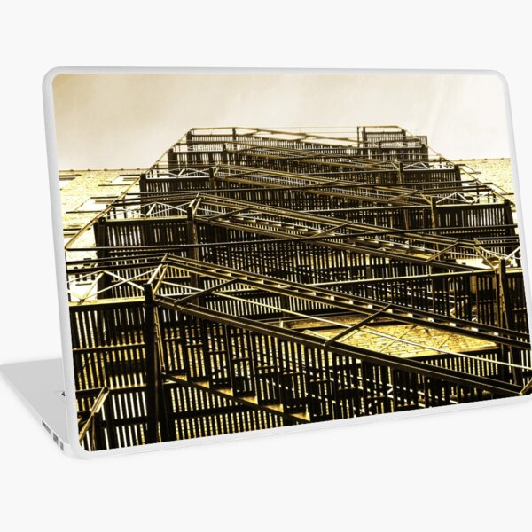 Exterior Fire Escape Stairs on Brick Building Laptop Skin