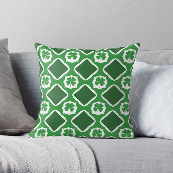 St Patricks Day Four Leaf Clover Throw Pillow